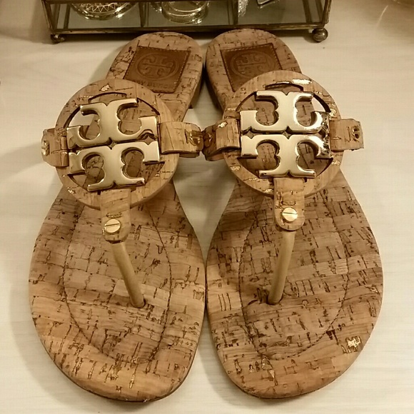 2ba25f77cc2e2 Tory Burch Miller Sandals   Cork with Gold Emblem.  M 5afa3b23caab44c8cf51826d